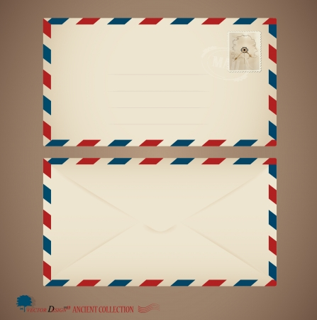 air mail: Envelope and stamp. Illustration