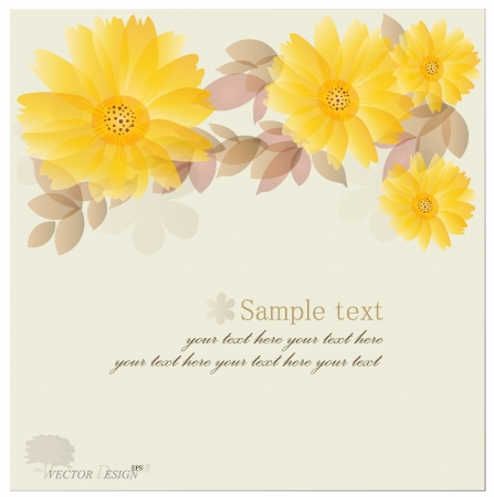 Vintage floral background - Daisies.  Vector