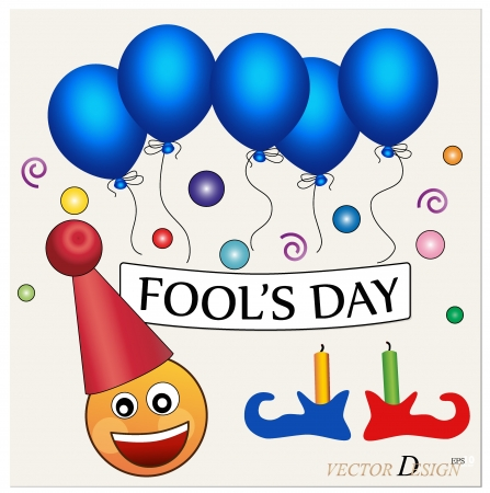Fools day. Celebrating April Fools Day. The amusing clown with poster.  Vector