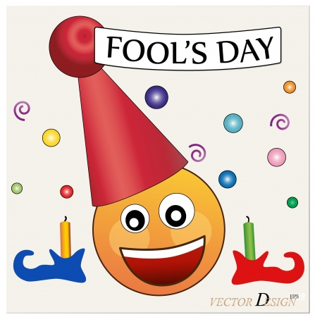 pranks: Fools day. Celebrating April Fools Day. The amusing clown with poster.