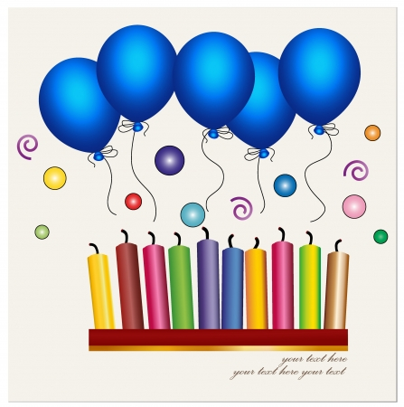 birthday wishes: Colorful of candle and blue balloon.