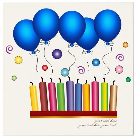 uitnodigen: Kleurrijke van de kaars en blauwe ballon.