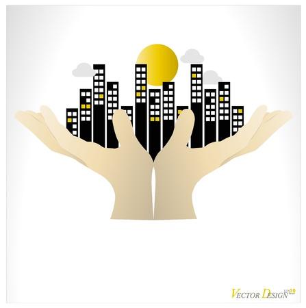City buildings human hand.  Vector