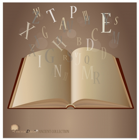 Opened ancient book with letters falling into the pages.  Vector