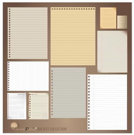 Diseños vintage de papel (hojas de papel, papel rayado y papel de nota)