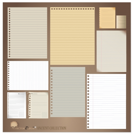 ancient paper: Vintage paper designs (paper sheets, lined paper and note paper)
