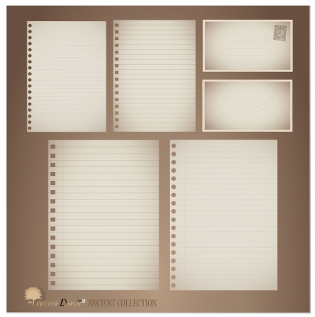 Vintage paper designs (paper sheets, lined paper and envelopes) Stock Vector - 14238194