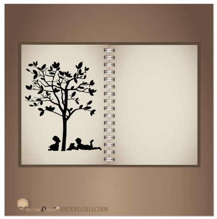 Vintage notebook designs (Silhouette of children read a book under tree).  Vector