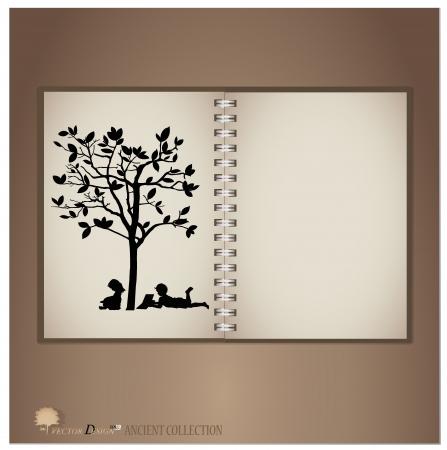 Vintage notebook designs (Silhouette of children read a book under tree).  Vector