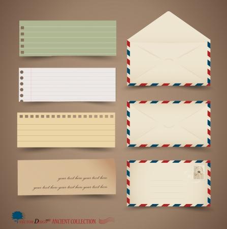 sobres para carta: Dise�os vintage de papel: papeles diferentes notas, listas para su mensaje. Vectores