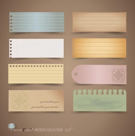 gescheurd papier: Vintage papier ontwerpen: diverse notitieblaadjes, klaar voor uw bericht.