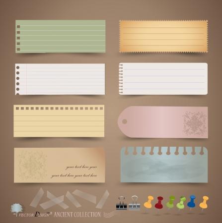 nota de papel: Diseños vintage de papel: papeles diferentes notas, listas para su mensaje. Vectores