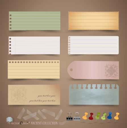 Vintage paper designs: various note papers, ready for your message.  Vector