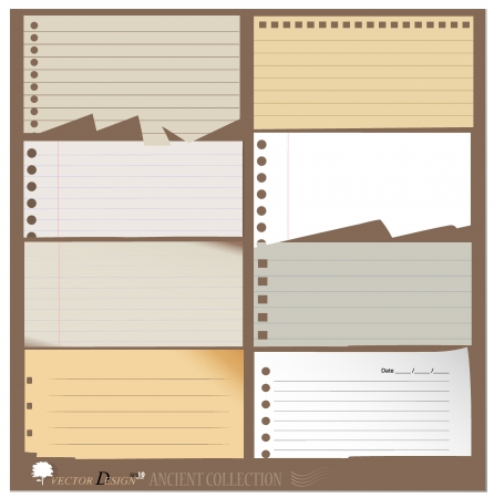 Vintage paper designs (paper sheets, lined paper and note paper)