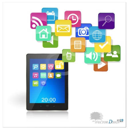 Touchscreen modern tablet pc with cloud of colorful application. Stock Vector - 14238260