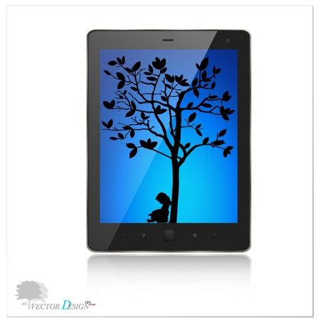 A modern tablet pc with silhouette of children read a book under tree.  Vector
