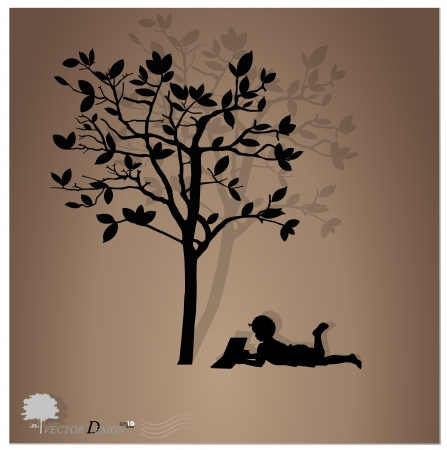 under the tree: Fondo con los ni�os a leer un libro bajo un �rbol.