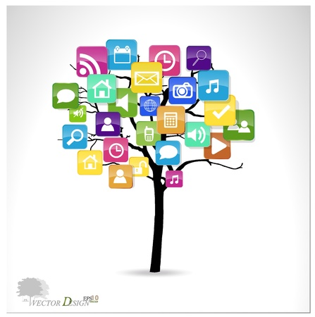 mobile media: Tree with cloud of colorful application.