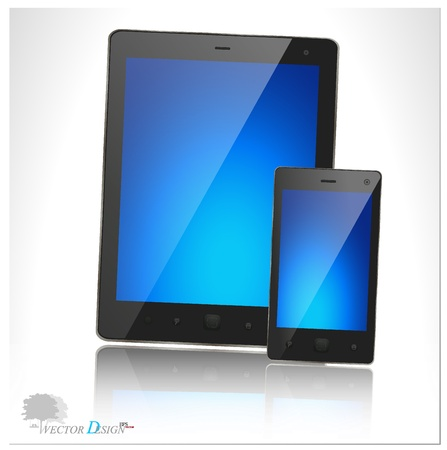 A modern tablet pc and smart phone for mobile communication with blue screen. Vector illustration. Vector