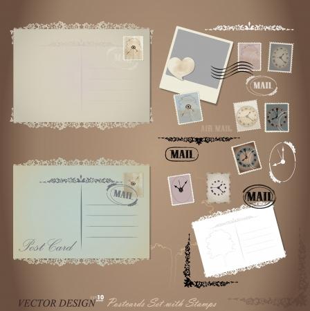 Vintage postcard designs and postage stamps. Vector