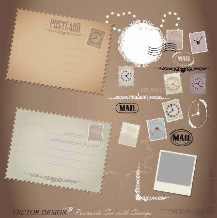 Vintage postcard designs and postage stamps. Stock Vector - 14238336