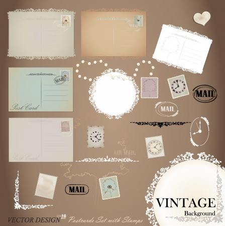postal vintage: Conjunto de vectores: los dise�os vintage de tarjetas postales y sellos.