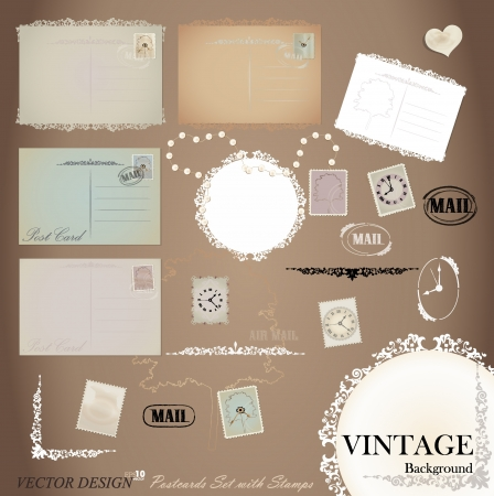 Vector set: Vintage postcard designs and postage stamps. Vector
