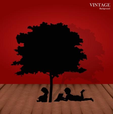 sotto l albero: Seamless pattern di sfondo retr� con i bambini a leggere un libro sotto l'albero.