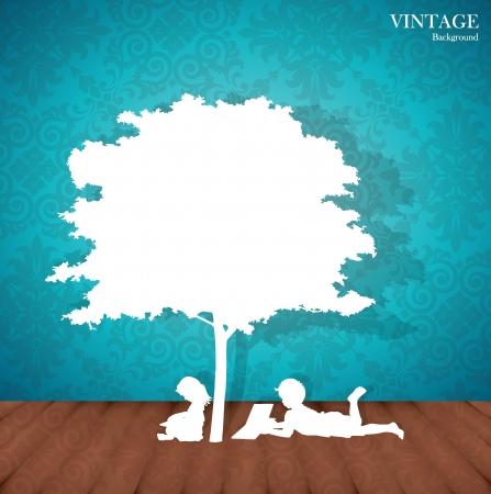 under the tree: Seamless retro con los ni�os a leer un libro bajo un �rbol.