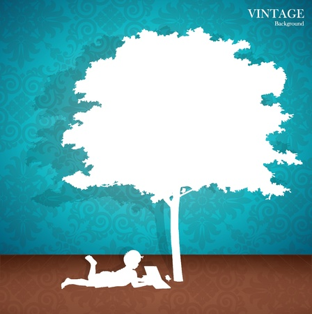 Seamless retro pattern background with children read a book under tree.  Vector