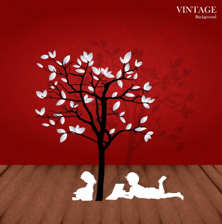 hands holding tree: Seamless retro pattern background with children read a book under tree.