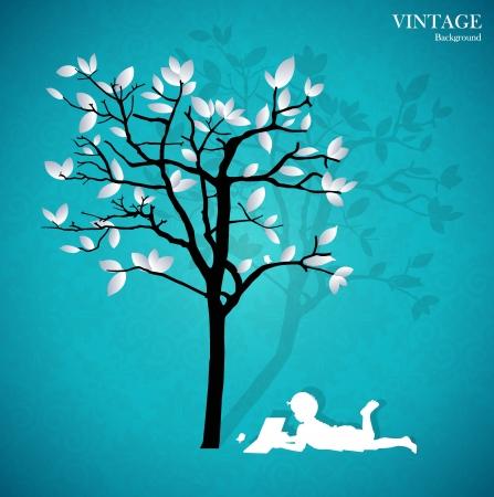lezing: Achtergrond met kinderen een boek lezen onder boom. Stock Illustratie