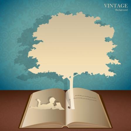 Jednolite tło retro wzór z dziećmi czytać książki pod drzewem.