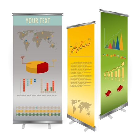 blank roll up banner display template for designers Vector