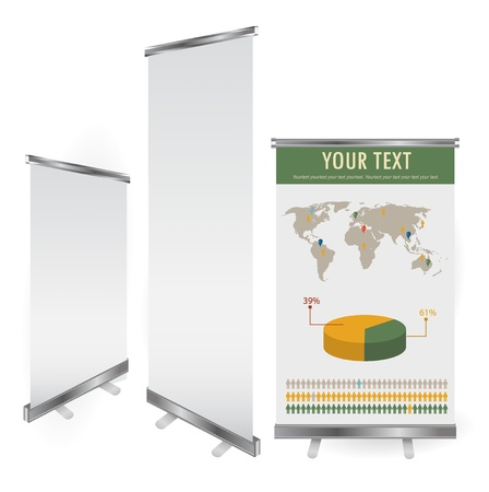 kakemono: blank roll up banner display template for designers