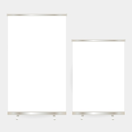 Blank roll up banner display  Illustration