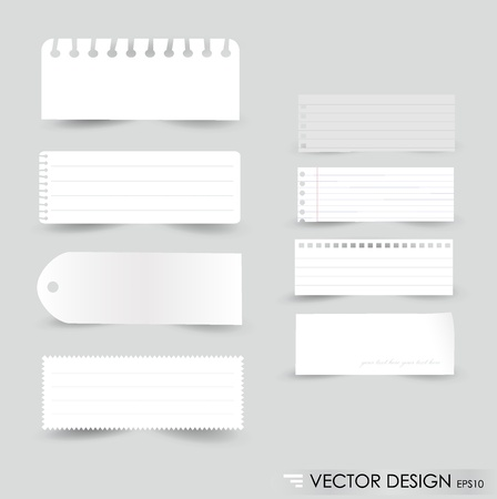 Collection of various white note papers, ready for your message Vector