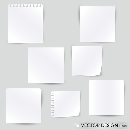 Collection of vaus white note papers, ready for your message. Vector illustration. Stock Vector - 14503750