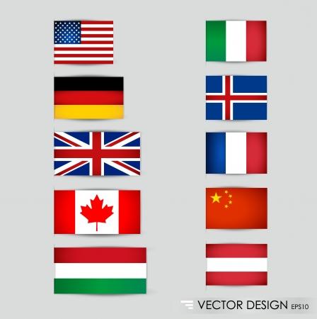 bandera italia: Banderas del mundo ilustraci�n Vectores