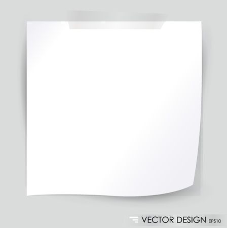 White note paper, ready for your message illustration  Vector