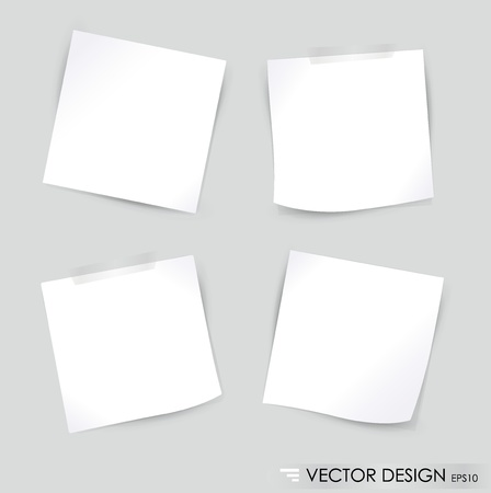 sticky notes: Collection of various white note papers, ready for your message illustration