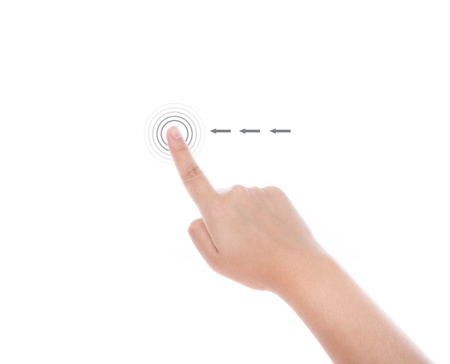 input device: Women hand use  multi-touch gestures for tablets or touch screen device