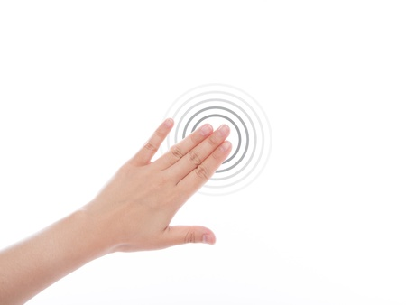 multitouch: Women hand use  multi-touch gestures for tablets or touch screen device