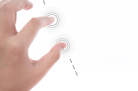 Women hand use  multi-touch gestures for tablets or touch screen device photo