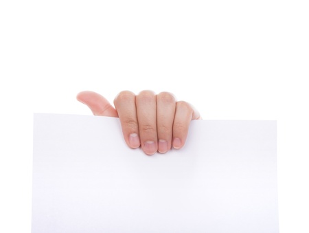 Woman hand holding white empty paper isolated on white background Stock Photo - 14557599