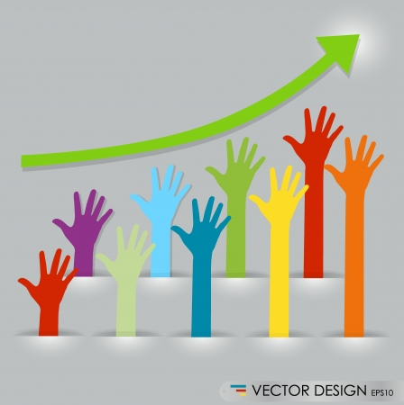 Raised hands, abstract vector illustration. Vector