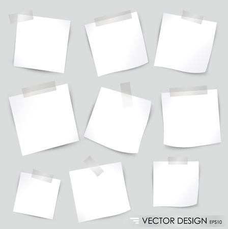Sammlung von verschiedenen weißen Notizzetteln, bereit für Ihre Nachricht. Vektor-Illustration.