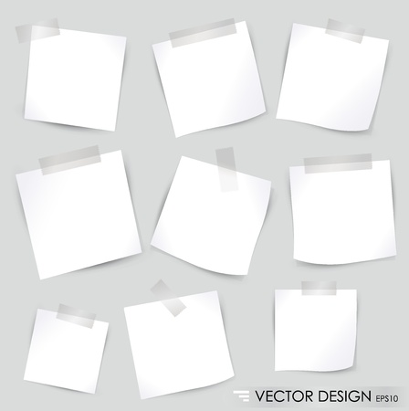 sticky note: Collection of various white note papers, ready for your message. Vector illustration. Illustration