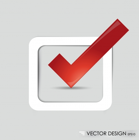 affirmative: Check-box with red check-mark , vector illustration