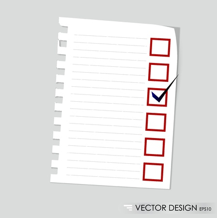 blank check: A checklist with black marker and red checked boxes  Concept